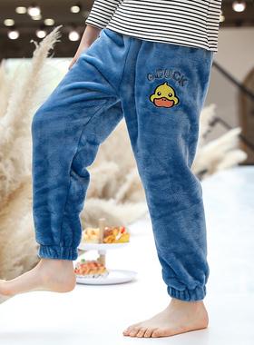 儿童暖暖裤秋冬男童加绒加厚法兰绒珊瑚绒冬季外穿家居裤子睡裤