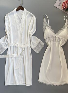 春秋睡衣女性感冰丝浴袍蕾丝吊带胸垫诱惑睡裙睡袍两件套家居服夏
