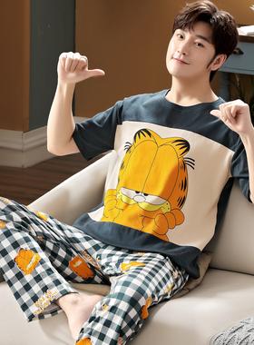 夏季纯棉短袖长裤男士睡衣春秋薄款青少年学生卡通家居服大码套装