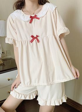 公主风睡衣女夏季薄款纯棉短袖两件套装夏天甜美学生家居服可外穿