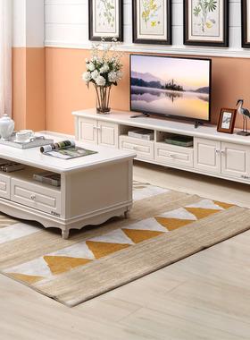 南方家居田园电视柜茶几组合小户型客厅成套家具套装白色简约家具