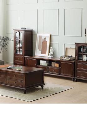 美式乡村实木茶几电视柜组合套装客厅成套家具简美风格储物柜子