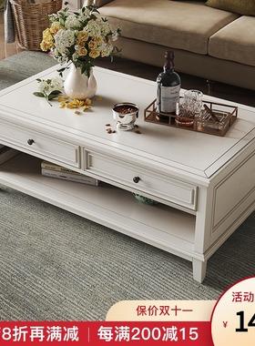 美式乡村实木茶几电视柜组合地柜客厅成套家具简美风格储物柜白色