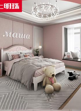 掌上明珠公主床女孩卧室1.5米床单人储物儿童衣柜书桌成套家具BD