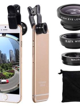 手机镜头高清摄像头望远镜广角微距鱼眼三合一单反套装自拍照摄影