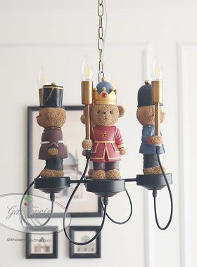 英伦泰迪熊军团儿童灯吊灯卧室灯美式灯男孩女孩小孩家装灯具灯饰
