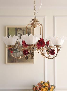 美式田园花房吊灯客厅灯餐厅灯卧室灯铁艺布罩样板房家装灯具灯饰