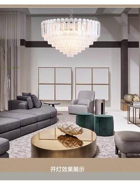 后现代设计师铜灯轻奢吊灯水纹玻璃家装客厅灯低层房间卧室餐厅灯