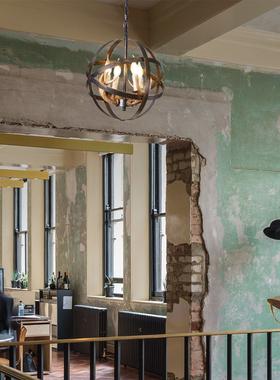 美式餐厅风格鹿角吊灯铁艺工业风家装网咖吧台灯饰个性鸟笼树脂灯