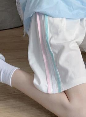 休闲运动裤女2021新款夏季薄款宽松显瘦百搭阔腿五分短裤子潮ins