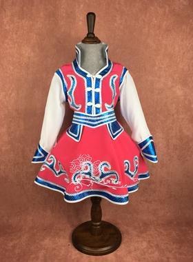 儿童蒙古舞蹈服装蒙古袍女童蒙古族演出服饰女款民族表演服新品