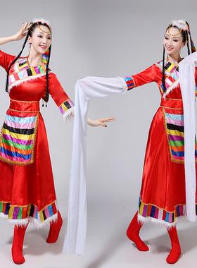 藏族演出服装 女藏族舞蹈演出服 藏族广场舞服装水袖舞蹈服饰藏服
