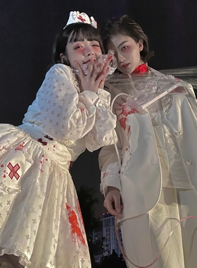 小护士背带/万圣节衬衫背带裙服装女套装服饰/choker bunny缎带兔
