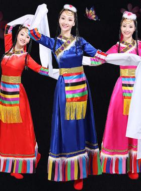 藏族舞蹈演出服新款少数民族服饰西藏长裙服装广场舞表演服女成人