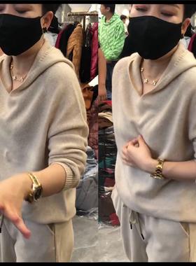 抖音润平服饰同款新女潮流时尚早春秋季气质灰黄色连帽针织衫毛衣