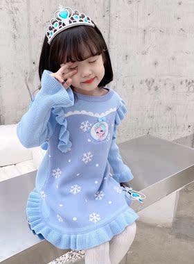 艾莎公主裙冰雪奇缘爱莎女童秋冬毛衣连衣裙儿童爱沙服饰生日裙子