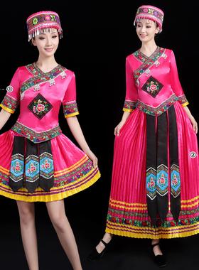 新款演出服畲族服装女士成人少数民族风舞蹈服饰舞台歌舞表演服装
