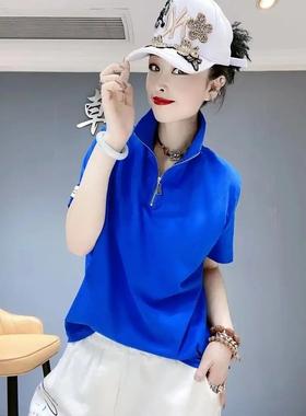 抖音韩亚1984服饰 短袖t恤女2021夏季新款韩版时尚上衣宽松半拉链