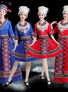 新款苗族演出服女土家族服装湘西少数民族成人女瑶族彝族舞蹈服饰