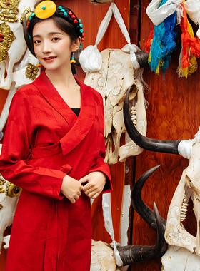 2021新款藏装 藏族服饰女西藏拉萨服 红色民族风春夏藏式博拉裙