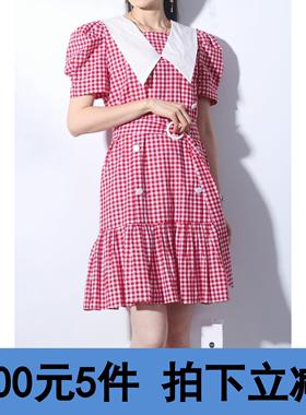 【100元5件】服饰言系列韩版格子显瘦尖领连衣裙女~21春135