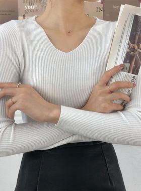 大连东越服饰V领紧身长袖内搭毛衣女春秋薄款修身针织打底衫上衣