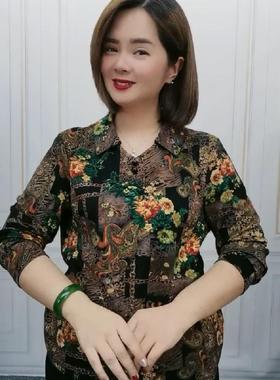抖音瑾惠优美服饰 2021秋季新款中老年女装上衣衬衫长袖弹力时尚
