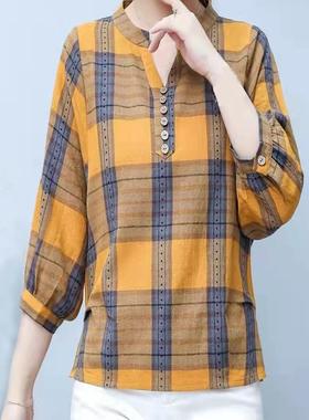 服饰衬衫女七分袖春秋新款2021年洗水棉麻格子上衣休闲时尚