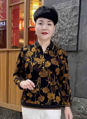 语曦服饰2021新款中老年女秋装翻领打底衫40岁50妈妈宽松大码上衣