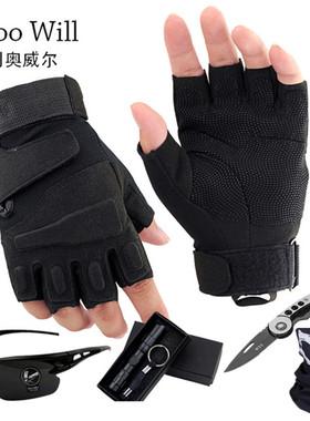 登山半指特种兵战术手套男士秋冬季户外骑行健身保暖全指半指手套