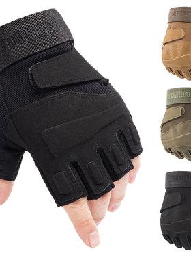 战术手套男士登山运动半指秋冬季户外训练健身透气防滑护骑行露指