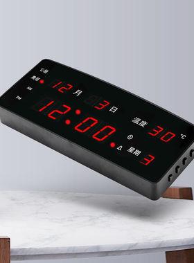创意led夜光插电电子钟台式数码万年历时钟闹钟挂钟日历数字钟。