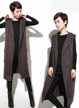 春秋冬季宽松大码针织马甲女士中长款无袖背心坎肩毛衣开衫外套穿