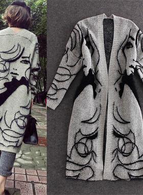 秋冬新款时尚女装开衫韩版宽松中长款大美女针织毛衣外套潮大衣