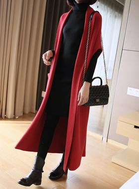 针织衫女坎肩春秋冬马甲外套中长款宽松显瘦过膝超长外搭毛衣开衫
