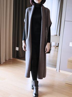 春秋冬季大码宽松针织马甲女中长款毛衣韩版披肩外搭开衫外套2021