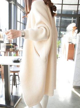 毛衣外套女中长款慵懒风韩版宽松网红新款2021秋冬加厚开衫针织衫