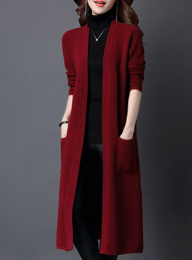秋冬2021新款开衫外套女中长款长款韩版过膝针织外搭宽松毛衣披肩