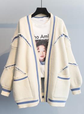 2020春装新款韩版宽松字母时尚加厚针织中长款毛衣开衫秋冬外套女