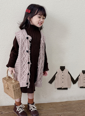 66秋冬新女童母女装中长款流苏麻花开衫针织线衣马甲亲子毛衣套装
