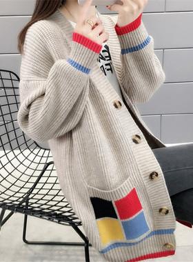 中长款开衫毛衣女装2021新款潮韩版百搭外穿针织外套秋冬宽松加厚