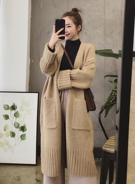 2020秋冬季新款韩版女装慵懒风宽松加厚中长款针织开衫毛衣外套女