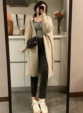 Halo nini麻花毛衣女2020新款秋冬外穿宽松粗线驼绒长款针织开衫