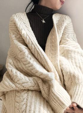 韩国chic秋冬简约宽松重工麻花纹加厚保暖长款针织开衫毛衣外套女