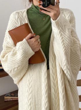 韩国chic秋冬复古慵懒风麻花纹宽松厚实保暖长款开衫毛衣外套女