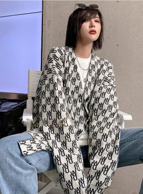 羊毛针织衫提花女秋冬新款韩版宽松中长款字母两面穿毛衣开衫外套