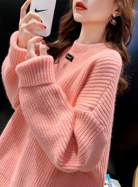 糖果色针织衫毛衣外套女秋冬2021年新款宽松外穿中长款慵懒风上衣
