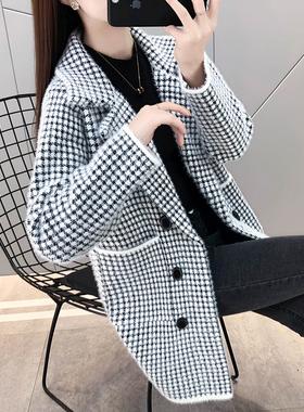 秋装女士仿水貂绒毛衣外套女2021年新款爆中长款针织开衫春秋冬潮
