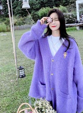 明星同款韩版秋冬毛衣厚宽松大码针织衫中长款V领长袖女开衫外搭