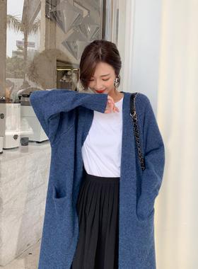慵懒风毛衣外套女秋冬季2021新款韩版宽松中长款针织开衫加厚外穿